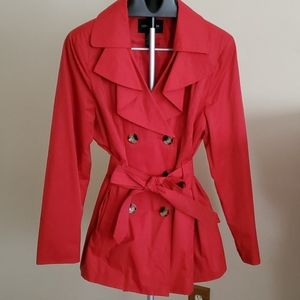 London Fog Trench Coat Red Jacket Size XL